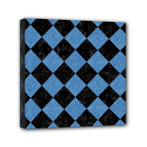 Square2 Black Marble & Blue Colored Pencil Mini Canvas 6  X 6  (stretched) by trendistuff
