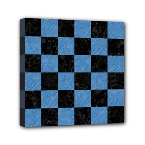 Square1 Black Marble & Blue Colored Pencil Mini Canvas 6  X 6  (stretched) by trendistuff