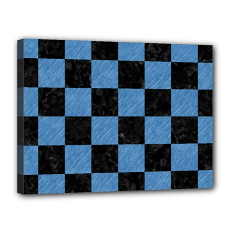 Square1 Black Marble & Blue Colored Pencil Canvas 16  X 12  (stretched) by trendistuff