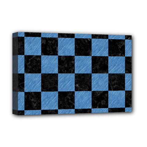 Square1 Black Marble & Blue Colored Pencil Deluxe Canvas 18  X 12  (stretched) by trendistuff