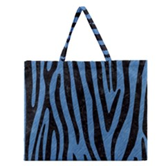 Skin4 Black Marble & Blue Colored Pencil Zipper Large Tote Bag by trendistuff