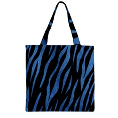 Skin3 Black Marble & Blue Colored Pencil Zipper Grocery Tote Bag by trendistuff
