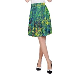 Flowers Abstract Yellow Green A-Line Skirt by Costasonlineshop