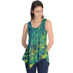 Flowers Abstract Yellow Green Sleeveless Tunic