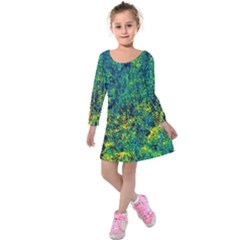 Flowers Abstract Yellow Green Kids  Long Sleeve Velvet Dress