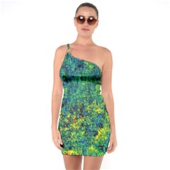 Flowers Abstract Yellow Green One Soulder Bodycon Dress