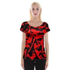 Red Black Retro Pattern Women s Cap Sleeve Top by Costasonlineshop