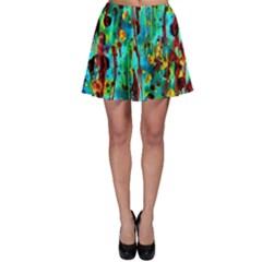 Turquoise Blue Green  Painting Pattern Skater Skirt