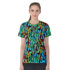 Turquoise Blue Green  Painting Pattern Women s Cotton Tee by Costasonlineshop