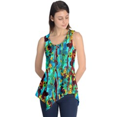 Turquoise Blue Green  Painting Pattern Sleeveless Tunic by Costasonlineshop