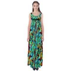 Turquoise Blue Green  Painting Pattern Empire Waist Maxi Dress by Costasonlineshop