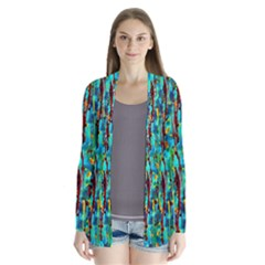 Turquoise Blue Green  Painting Pattern Cardigans
