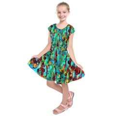 Turquoise Blue Green  Painting Pattern Kids  Short Sleeve Dress
