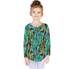 Turquoise Blue Green  Painting Pattern Kids  Long Sleeve Tee by Costasonlineshop