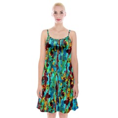Turquoise Blue Green  Painting Pattern Spaghetti Strap Velvet Dress