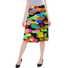 Colorful Paint On A Black Background             Midi Beach Skirt by LalyLauraFLM