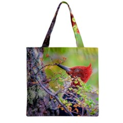 Woodpecker At Forest Pecking Tree, Patagonia, Argentina Grocery Tote Bag by dflcprints
