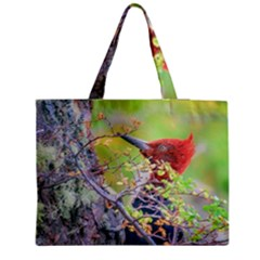 Woodpecker At Forest Pecking Tree, Patagonia, Argentina Medium Tote Bag by dflcprints