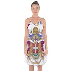 Greater Coat Of Arms Of Italy, 1870 1890  Ruffle Detail Chiffon Dress