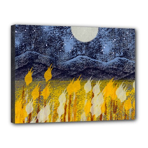 Blue And Gold Landscape With Moon Canvas 16  X 12  by theunrulyartist
