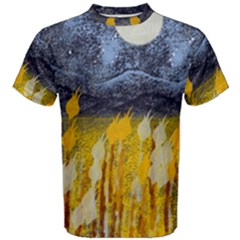 Blue And Gold Landscape With Moon Men s Cotton Tee by theunrulyartist