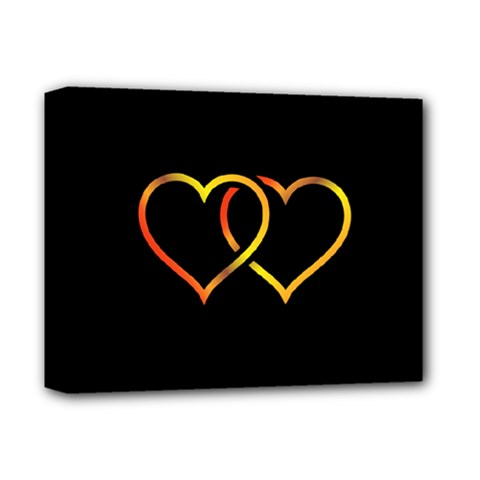 Heart Gold Black Background Love Deluxe Canvas 14  X 11  by Nexatart