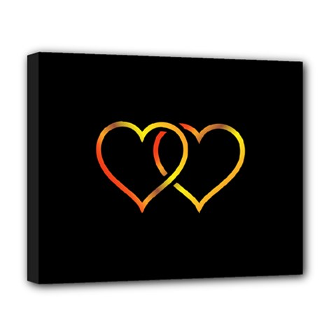 Heart Gold Black Background Love Deluxe Canvas 20  X 16   by Nexatart