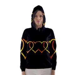 Heart Gold Black Background Love Hooded Wind Breaker (women)