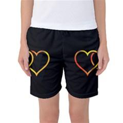 Heart Gold Black Background Love Women s Basketball Shorts