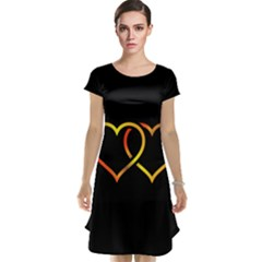 Heart Gold Black Background Love Cap Sleeve Nightdress