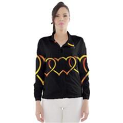 Heart Gold Black Background Love Wind Breaker (women)