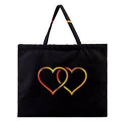 Heart Gold Black Background Love Zipper Large Tote Bag by Nexatart