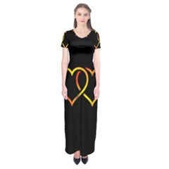 Heart Gold Black Background Love Short Sleeve Maxi Dress