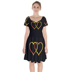 Heart Gold Black Background Love Short Sleeve Bardot Dress