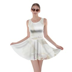 Orchids Flowers White Background Skater Dress