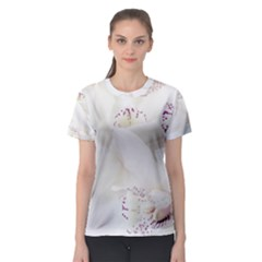 Orchids Flowers White Background Women s Sport Mesh Tee