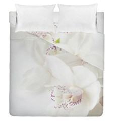 Orchids Flowers White Background Duvet Cover Double Side (queen Size) by Nexatart
