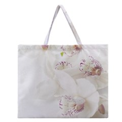 Orchids Flowers White Background Zipper Large Tote Bag