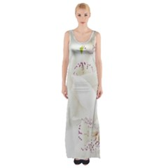 Orchids Flowers White Background Maxi Thigh Split Dress by Nexatart