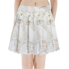 Orchids Flowers White Background Pleated Mini Skirt