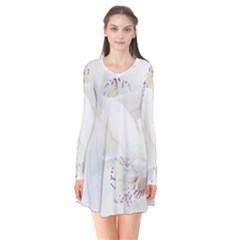 Orchids Flowers White Background Flare Dress