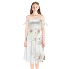 Orchids Flowers White Background Shoulder Tie Bardot Midi Dress