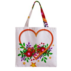 Heart Flowers Sign Zipper Grocery Tote Bag by Nexatart