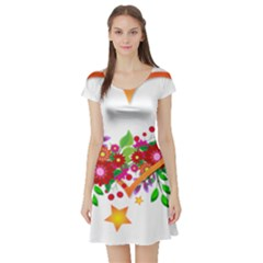 Heart Flowers Sign Short Sleeve Skater Dress