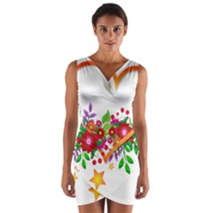 Heart Flowers Sign Wrap Front Bodycon Dress