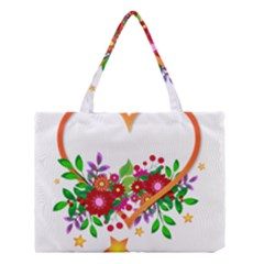 Heart Flowers Sign Medium Tote Bag by Nexatart