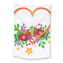 Heart Flowers Sign Small Tapestry by Nexatart