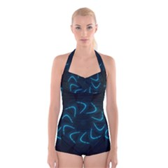 Background Abstract Decorative Boyleg Halter Swimsuit
