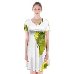 Leaves Nature Short Sleeve V Neck Flare Dress
