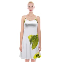 Leaves Nature Spaghetti Strap Velvet Dress